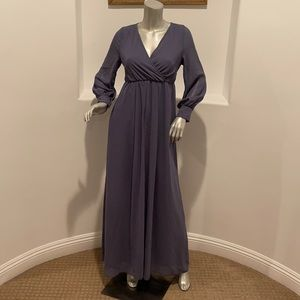 RICARICA  Long Sleeve Blue   Sash-Tie Maxi Dress S